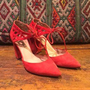 Red Suede Free People Block Heels